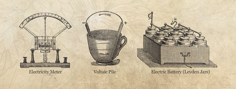 Electricity Meter, Voltaic Pile, Electric Battery (Leyden Jars)